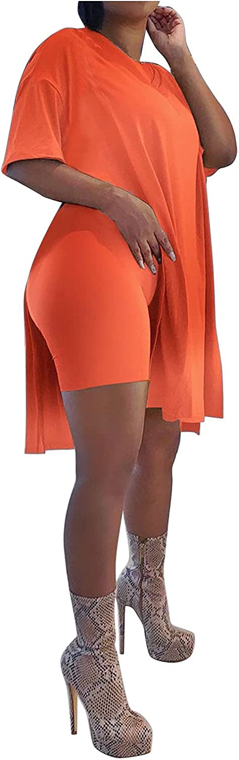 YUNDAN Womens 2 Piece Outfit Summer Plus Size Sets Casual Solid Short Sleeve T-Short & Shorts Loose Comfy Swimsuit