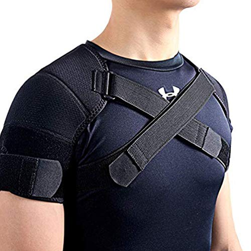 Double Shoulder Support Brace Strap Wrap Protector Rotator Cuff, Rheumatoid Arthritis, Bursitis, Osteoarthritis,Tendinitis, AC Joint Pain Relief