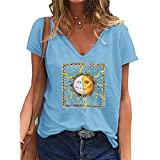 Moon And Sun Tshirt, Donna Ragazza 3D Live By The Sun Love By The Moon Maglietta Manica Corta Estate Moda Casual Sole e Luna Stampa Scollo a V Tee Maglia Shirt Camicia Camicetta Tops (1L,M)