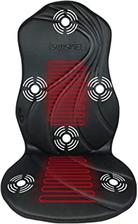 Sooswel Vibration Massage Car Seat Cushion with Heat 6 Vibrating Motors and 2 Therapy Heating Pad,Car Back Massager Chair Pad for Car Truck Use