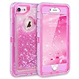 Dexnor iPhone 7 Case, iPhone 6S Case, Glitter 3D Bling Sparkle Flowing Liquid Case Transparent 3 in 1 Shockproof TPU Silicone Core + PC Frame Case Cover for iPhone 7/6s/6 - Pink