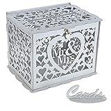 Benjia Hochzeit Geschenkkartenbox Geschenkkarten Box, Vintage groß Holz Kartenbox Karten Geld Box...