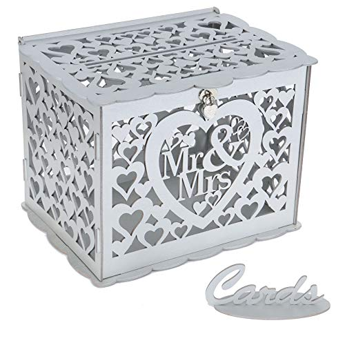 Benjia Hochzeit Geschenkkartenbox Geschenkkarten Box, Vintage groß Holz Kartenbox Karten Geld Box Briefbox mit Schloss Schlitz für Hochzeit Geburtstag Danke (Mr & Mrs, Silber)