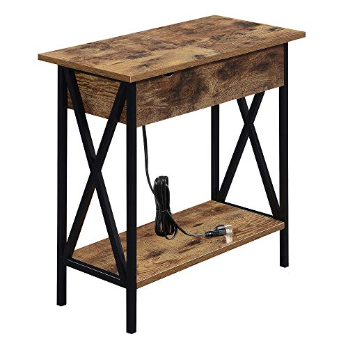 Convenience Concepts Tucson Flip Top End Table with Charging Station, Sandstone