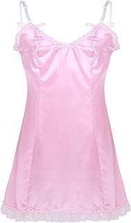 FEESHOW Mens Soft Satin Sleeveless V-Neckline Low Back Romper Pajamas Sissy Nightdress