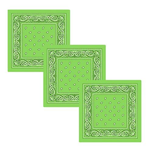 MOTOCO 3pcs Bandana Halstuch Paisley Bindetuch Haar Schal Ansatz Handgelenk Verpackungs Band Kopftuch Unisex Mode-Accessoires(55.8x55.8CM.Minzgrün)