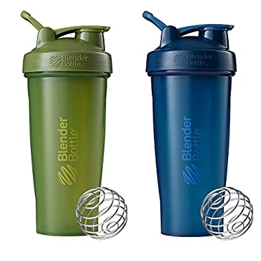 Blender Bottle Classic Loop Top Shaker Bottle, Moss/Moss and Navy/Navy, 28-Ounce 2-Pack