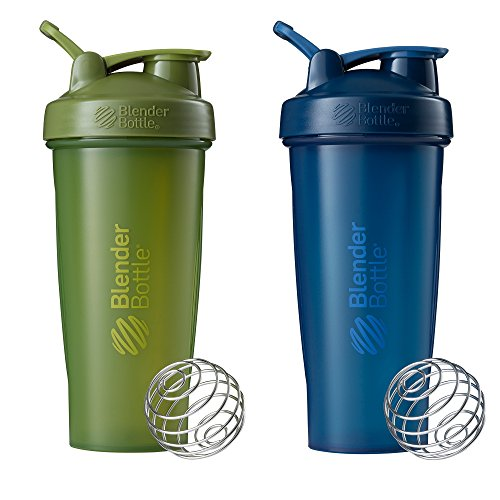BlenderBottle Classic Shaker Bottle Perfect for Protein Shakes and Pre Workout, 28-Ounce (2 Pack), Moss/Moss and Navy/Navy