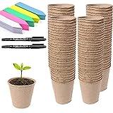 Abimars Vasetti per Piantine in Fibra Biodegradabile 100 Pz, 8 cm Vasi per Semi Rotondi con 100 Etichette in Plastica a Colori, 2 x 10 cm Penna per Etichette per Piante