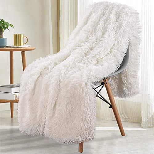 Noahas Shaggy Longfur Throw Blanket with Sherpa Warm Underside, Super Soft Cozy Large Plush Fuzzy Faux Fur Blanket, Lightweight and Washable Kids Girls Room Decorative Blanket, 50''x60'', Cream