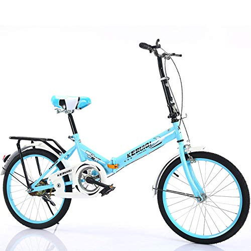 LSBYZYT Folding Bicycle, 20-Inch Ultra-Light Bicycle, Portable Adult Bicycle-Blue_Excluding bicycle basket