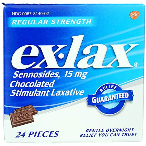 Ex-Lax Regular Strength Chocolated Stimulant Laxative, 24 Pieces - Pack of 2
