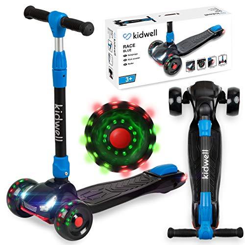 Kidwell RACE Kinder Roller Dreiradscooter | LED-Räder Scooter für Junge und Mädchen ab 3 Jahre | einstellbaren Höhe | LED-Beleuchtung auf der Vorder- und Rückseite | Blau