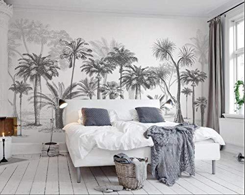 papier peint panoramique 3d tapisserie photo murales peinture murale interieur intissé poster geant décor mural moderne 200x140cm Forêt tropicale noire et blanche de cocotiers tropicaux