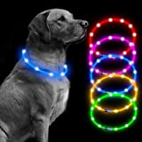 BSEEN Led Dog Collar USB Rechargeable Glowing Pet Safety Collars Water Resistant Light up Cut to resize to fit 11'-27' for Small, Medium, Large Dogs (Blue)