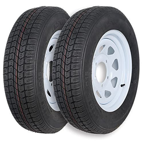Ark Motoring ST205/75D15 Trailer Tires with 15x5.5 Inch White Rims, 6-Ply Load Range C, Set of 2