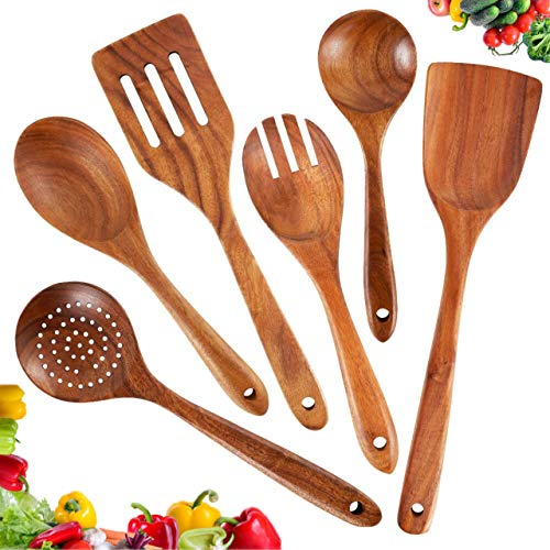 Wooden Kitchen Utensils Set,Teak Wooden Spoons and Spatula for Cooking,Wooden Cooking Utensil for Nonstick Cookware,100% Handmade by Natural Teak Wood 6 Pack