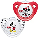 NUK 10175209 Disney Mickey Mouse Trendline - Chupete (silicona, 0-6 meses, sin BPA, 2 unidades), color rojo