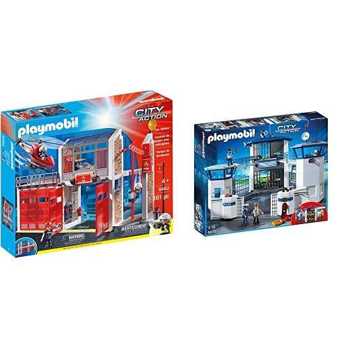 PLAYMOBIL 9462 Spielzeug-Große Feuerwache &  6872 - Polizei-Kommandozentrale mit Gefängnis