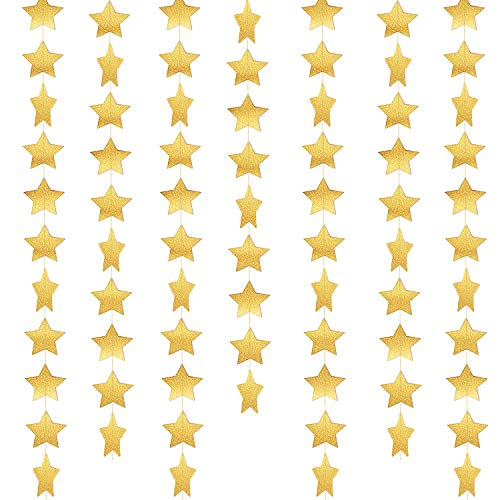 Whaline 52 Feet Star Paper Garland Bunting Banner Hanging Decoration for Wedding Holiday Party Birthday, 2.75 Inches (Gold)