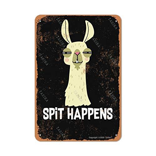 Tarika Llama Spit Happens Vintage Look Metal 20 x 30 CM Decoración de Pintura Letrero para el hogar, cocina, baño, granja, playa, bar, citas inspiradoras para decoración de pared