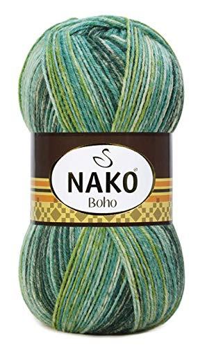 Nako 100 g Sockenwolle Boho 4 fädig Lauflänge 400m 4 Fach Wolle mit Farbverlauf (31920)
