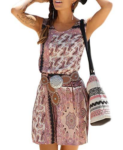 Donna Vestito Estivi Elegante Moda Vintage Vestito Motivo Paisley Vita Elastica Corto Vestiti Stile...