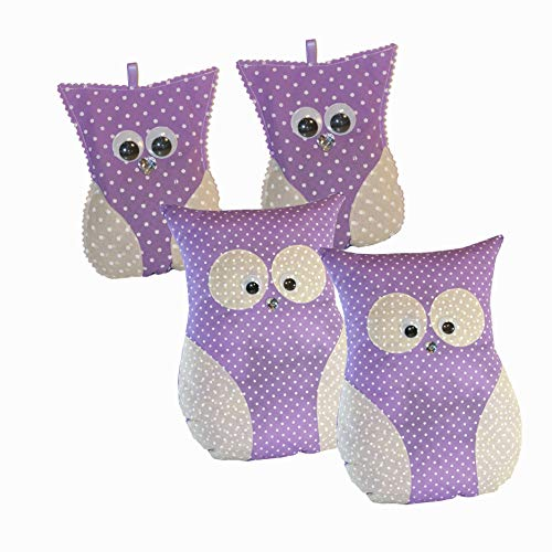 Handmade Design - Coussin parfumé à la lavande – avec véritable lavande (grand hibou petit hibou – Violet, 24 x 32 cm 12 x 16 cm – Lot de 2)
