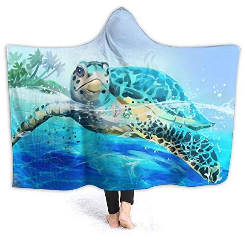 N \ B Sea Turtle - Manta con capucha para sofá con capucha para bebé, niños, hombres, mujeres, 50 x 40 pulgadas