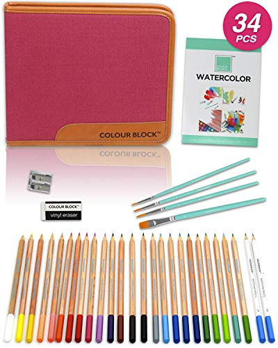 COLOUR BLOCK 34PC Watercolor Pencil Travel Art Set For Kids Teens and Adults For Drawing Sketching Coloring and Painting Great starter kit for all beginners to professionals