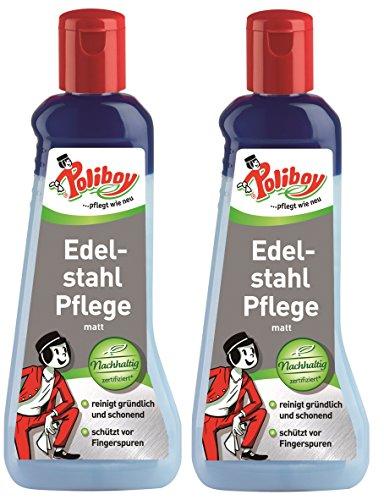 Poliboy - Edelstahl Pflege matt - reinigt gründlich und schonend für Aluminium oder Edelstahl - 2er Pack - 2x200 ml - Made in Germany