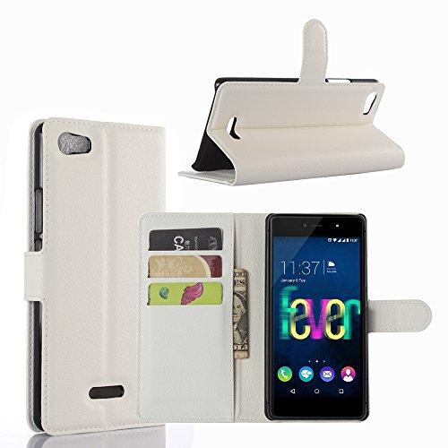 Ycloud Tasche für Wiko Fever 4G Hülle, PU Ledertasche Flip Cover Wallet Case Handyhülle mit Stand Function Credit Card Slots Bookstyle Purse Design weiß