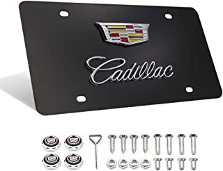 Fast & Furious for Cadillac Stainless Steel License Plate, Luxury Black Chrome 3D Front License Plate Covers with Logo Screw Nuts for Cadillac All Models