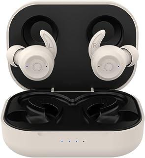 H HILABEE Trådlösa hörlurar, Bluetooth 5.0-hörlurar djup bas brusreducering, hörlurar med 28H speltid, IPX6 vattentät – beige