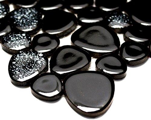 Mosaik-Netzwerk Mosaikfliese Kiesel uni schwarz glänzend (mit weiß) Keramik Drops Pebbles Fliesenspiegel, Mosaikstein Format: d=5 mm, Bogengröße: 280x280 mm, 1 Bogen / Matte