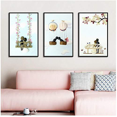Paar Liebe Schaukel Kombination Poster Leinwanddruck Wand nordischen minimalistischen Stil Kunst modular Wohnzimmer Schlafzimmer nach Hause 40x60cmX3 (Rahmenlos)
