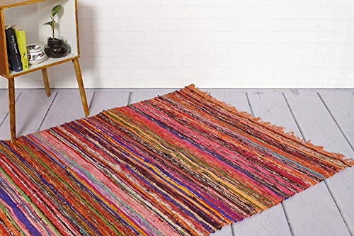 Eleet Eco Friendly 100% Recycled Cotton Chindi Rug - Hand Woven & Reversible for Living Room Kitchen Entry Runner (4x6 Feet, Orange Dyed Chindi Rug)
