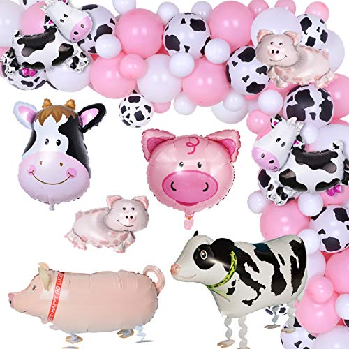 Farm Animal Theme Balloons Garland Arch Kit 88 Pack White Black Pink Party Decoration for Baby Shower Girl's Birthday