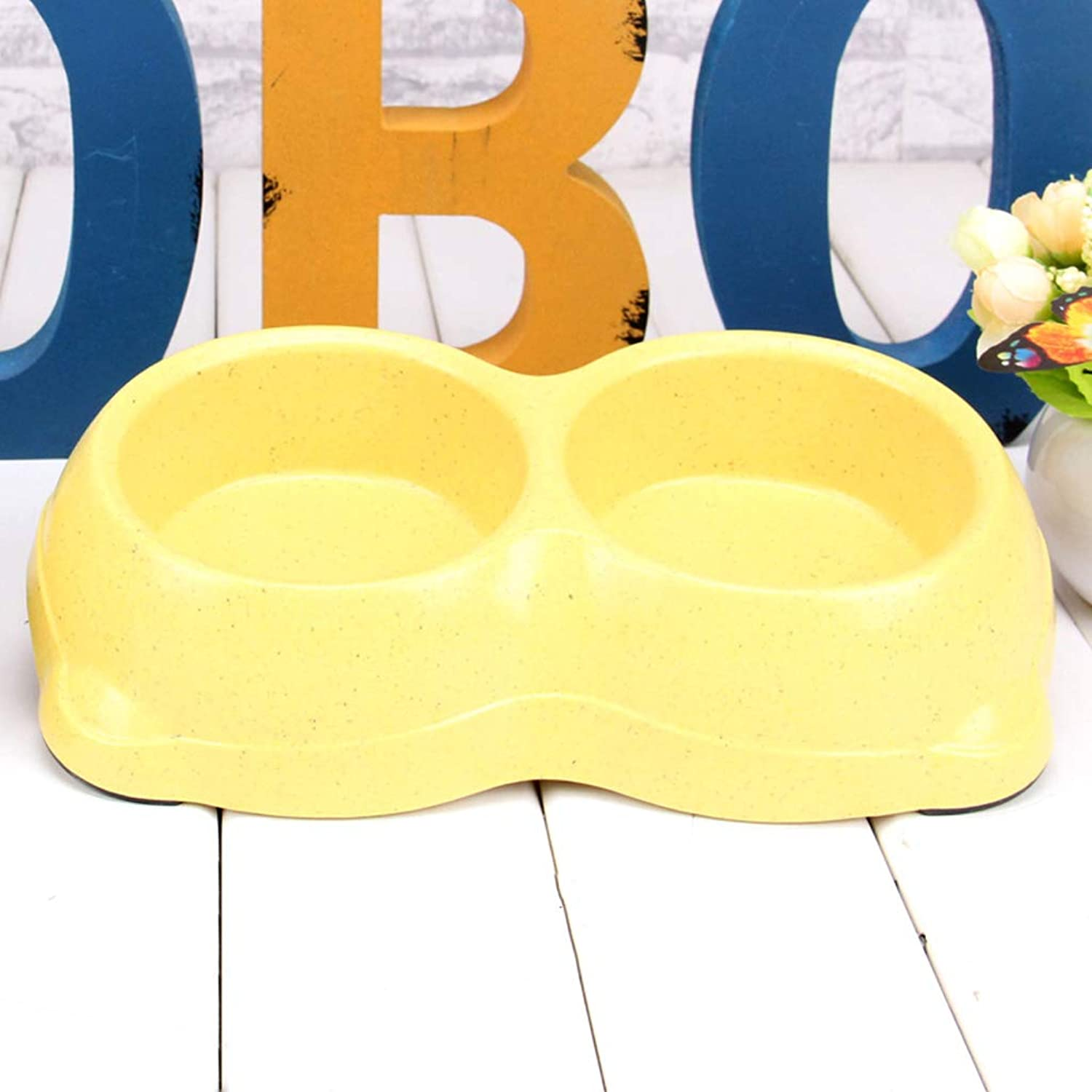 Cute Pet Cat Bowl Dog Bowl Dog Food Bowl Cat Food Bowl Pet Supplies Double Bowl Small Bowl (color   Yellow)