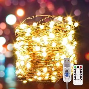Guirnalda de Luces de Hada, [Nueva versión] Luces de Hadas USB 80LED con cuentas de lámpara SMD2835, Cadena de Luces LED de Iluminación con Control Remoto para Fiestas, Navidad, bodas, Jardín, Patio