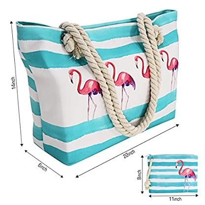 Strandtasche-Strandtasche-Strandtasche-aus-Segeltuch-gross-Reissverschluss-oben