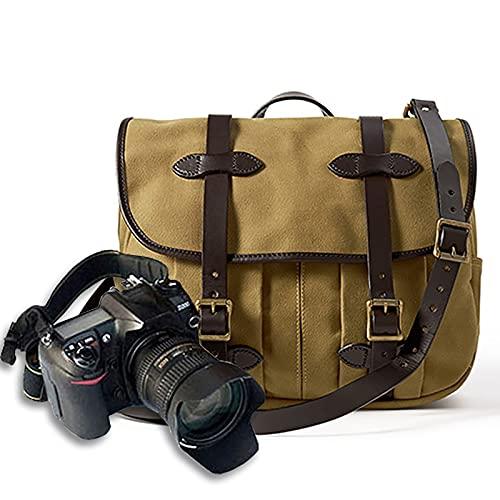Lvbeis Zaino Borsa per Fotocamera Reflex Digitale Messenger a Una Spalla Tela retrò Borsa per Fotocamera alla Moda Grande capacità può Essere Riposta in Un Laptop,Yellow,One Size
