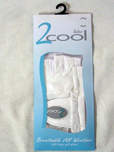 Quality Sports 2 Cool Half Finger Golf Glove (White, Right, Medium, Ladies)