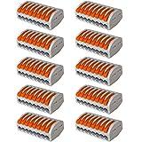 Aiqeer 10 Piezas PCT-218 Palanca Tuerca Cable Conectores Set, 8 Puertos Conector de Cable Conductor Compacto, Rápido Resorte Conector Bloque Terminal