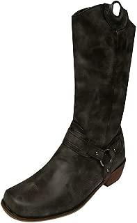 HebeTop Women Retro Low-heele Pull On Western Cowboy Fashion Comfort Boot