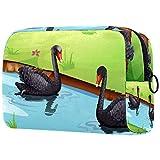 Black Swan - Neceser de maquillaje portátil para mujer y niña con cremallera