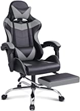 Gaming Racing Chair Executive Sport Office Chair with Footrest PU Leather Armrest Headrest Home Chair in Grey Colour