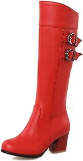 DecoStain Women's Sexy Double Buckle Chunky Block H EEL Knee High Boots Ladies Winter Warm Walking Boots