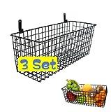 【Large Basket】 3 SET Wall Mounted Metal Wire Basket, Fruit Basket , Black, Hanging Storage Basket Organizer for Organization and Storage in Kitchen Pantry Bathroom Bedroom