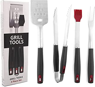 MOTYYA BBQ Grill Tools Set - 4-Piece Heavy Duty Stainless Steel Barbecue Grilling Utensils - Premium Grill Accessories for...